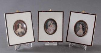 3 Elfenbeinminiaturen, Lupenmalerei des 20.Jh.Motiv: Kaiserin Elisabeth, Kaiserin Marie Luise und