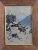 """Eduard Heller 1852 - ? """"Rotwild bei der Fütterung""""Aquarell auf Papier gemalt, unten rechts mit"""