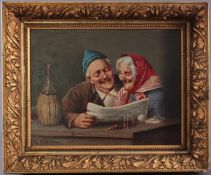 Schusselli ?-?, Mann und Frau lachend die Zeitung lesendÖl auf Holz gemalt, unten links signiert,