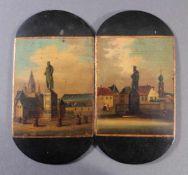 """Bemalte Deckel wohl Stobwasser, Braunschweig, 19. JahrhundertPappmaché/Öl, """"Städteansichten mit"""