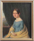 Frauenbildnis des 19. JahrhundertsÖl auf Leinwand, junge Frau mit blauem Kleid, doubliert, links