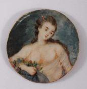 Miniaturportrait des 19. JahrhundertsÖl auf Elfenbein. Portrait einer jungen Dame mit Blumen,