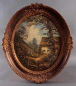 """Heinrich Berger (1898-1977)Öl auf Holz in ovaler Form, """"Dorfansicht mit Figurenstaffage"""", links"""
