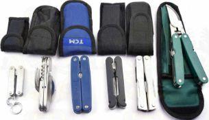 6 MULTIFUNKTIONS-WERKZEUGE, 5-fach bis 11-fach, Stahl vernickelt, dabei: Messer, Zangen,