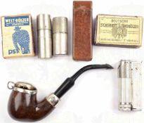 "KONVOLUT RAUCHERUNTENSILIEN, 7 Teile: Tabakspfeife, Herst. ""Standard Old Briar"", Wurzelholz,"