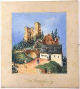 GEMÄLDE BURGRUINE ROSENBURG, bei Graupen/Sudetenland, (7 Km v. Zinnwald), Tempera auf