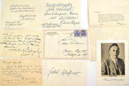 8 UNTERSCHRIFTEN DEUTSCHE SCHRIFTSTELLER: Karl Frenzel (1827-1914); Rudolf Herzog (1869-1943); Bruno