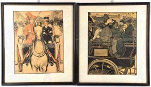 KUTSCHFAHRTEN DURCH MÜNCHEN, 2 farb. Kunstdrucke, 1901, im Hintergrund Boulevard Leopoldstr. m.