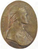 PLAKETTE DANTE, Bronze/halbhohl, Brustportrait im Profil, nach mittelalterlicher Vorlage, oval,
