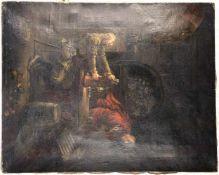 GEMÄLDE DER SCHLESISCHE ZECHER UND DER TEUFEL, Öl auf Leinwand, um 1930, gute Kopie nach Original v.