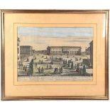 KOLORIERTER KUPFERSTICH UNTER DEN LINDEN, um 1790, Gesamtansicht des Königlichen Opern-Hauses (