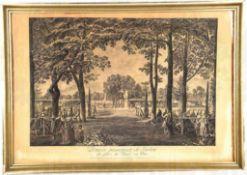 """RADIERUNG """"PREMIERE PROMENADE DE BERLIN"""", """"La place des Tentes au Parc"""", Darstellung um 1772,"""
