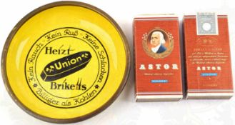 """WERBE-ASCHENBECHER, Heizt """"Union-Briketts"""", Eisen/emailliert, Herst. """"C.R. Dold, Offenburg i.B."""","""