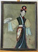 """Hinterglasmalerei, verspiegelt """" Hofdame """"China , 18.Jhdt. Maße: ca. 41 cm x 29 cm gerahmt"""
