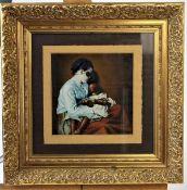"Zademack, Siegfried ( geb. 1952 )"" Pieta "" Öl auf Papier r.u.sgn. u. l. u. bet. Maße: ca. 20 cm x 20"