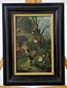 """Schlitt, Heinrich ( 1849 bis 1923 ), attr."""" Froschsständchen am Brunnen """" Öl auf Holz Maße: ca. 22,5"""