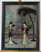 """Hinterglasmalerei, verspiegelt """" Hofdamen im Park """"China , 18.Jhdt. Maße: ca. 40 cm x 29,5 cm"""