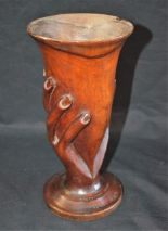 Lot 13 - Tribal Art - a Pitcairn Island vase, carved with a hand, 24cm high,