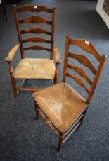 Lot 52 - A Victorian oak rush seated chair; another,