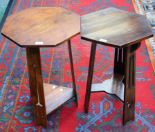 Lot 48 - A near pair of Arts and Crafts style oak tripod occasional tables (2)