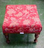 Lot 5 - A George IV mahogany foot stool, red upholstery, 36cm wide, 38cm deep,