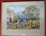 Lot 41 - Janet Minty Albion Place signed, watercolour, label to verso, 48cm x 33.