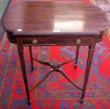 Lot 57 - An Edwardian mahogany side table, shaped top above a single frieze drawer,