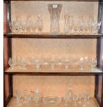 Lot 28 - Glassware - cut glass stemware, including sherry glasses, champagne flutes, brandy glasses,