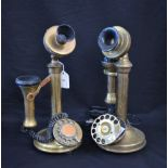 Lot 2 - A pair of Edwardian style brass candlestick telephones