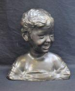 Lot 51 - Fonadello, after, a bronze portrait bust, as a laughing child, cast signature, 30.