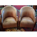 Lot 4 - A pair of 20th century oak framed club chairs,