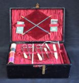 Lot 21 - Boxes and Objects - an early 20th century leather bound sewing box, with contents, etc,