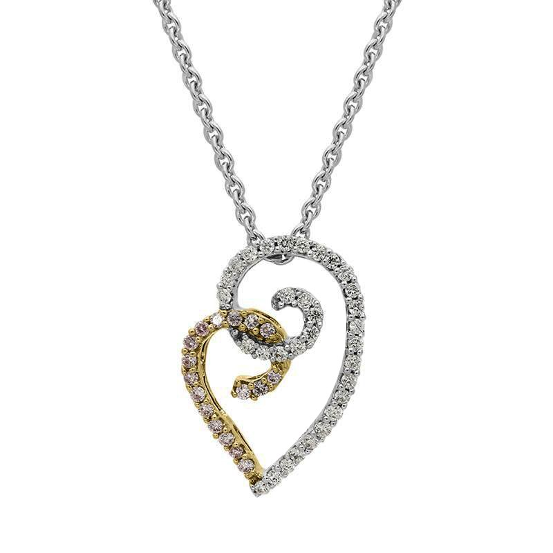 Lot 38 - 18ct gold diamond and pink sapphire necklace from C W Sellors Fine Jewellery This beautiful curled