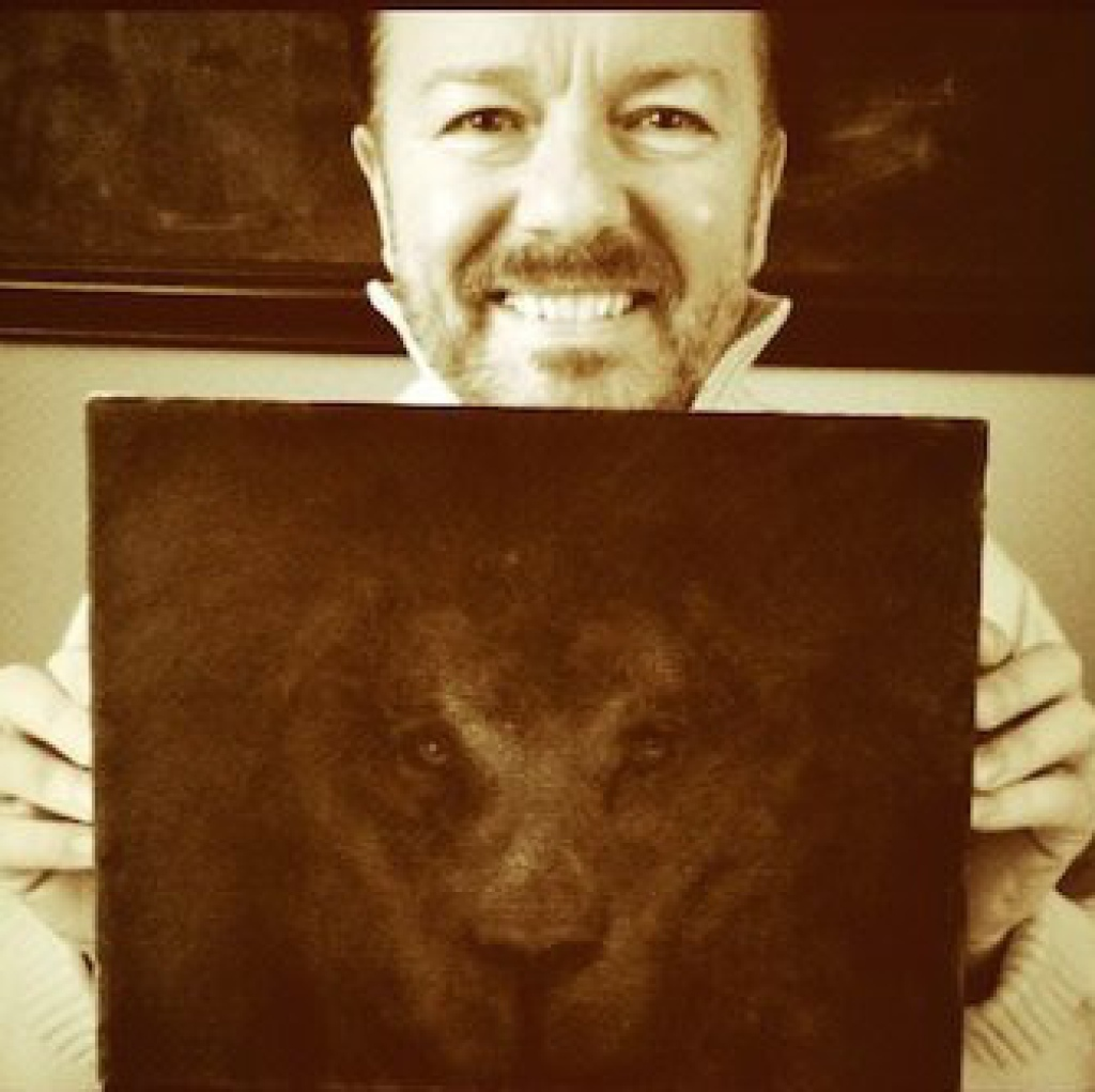 Lot 22 - Cats Eyes Painted and very kindly donated by Ricky Gervais, an oil on canvas entitled Lion's Eyes.