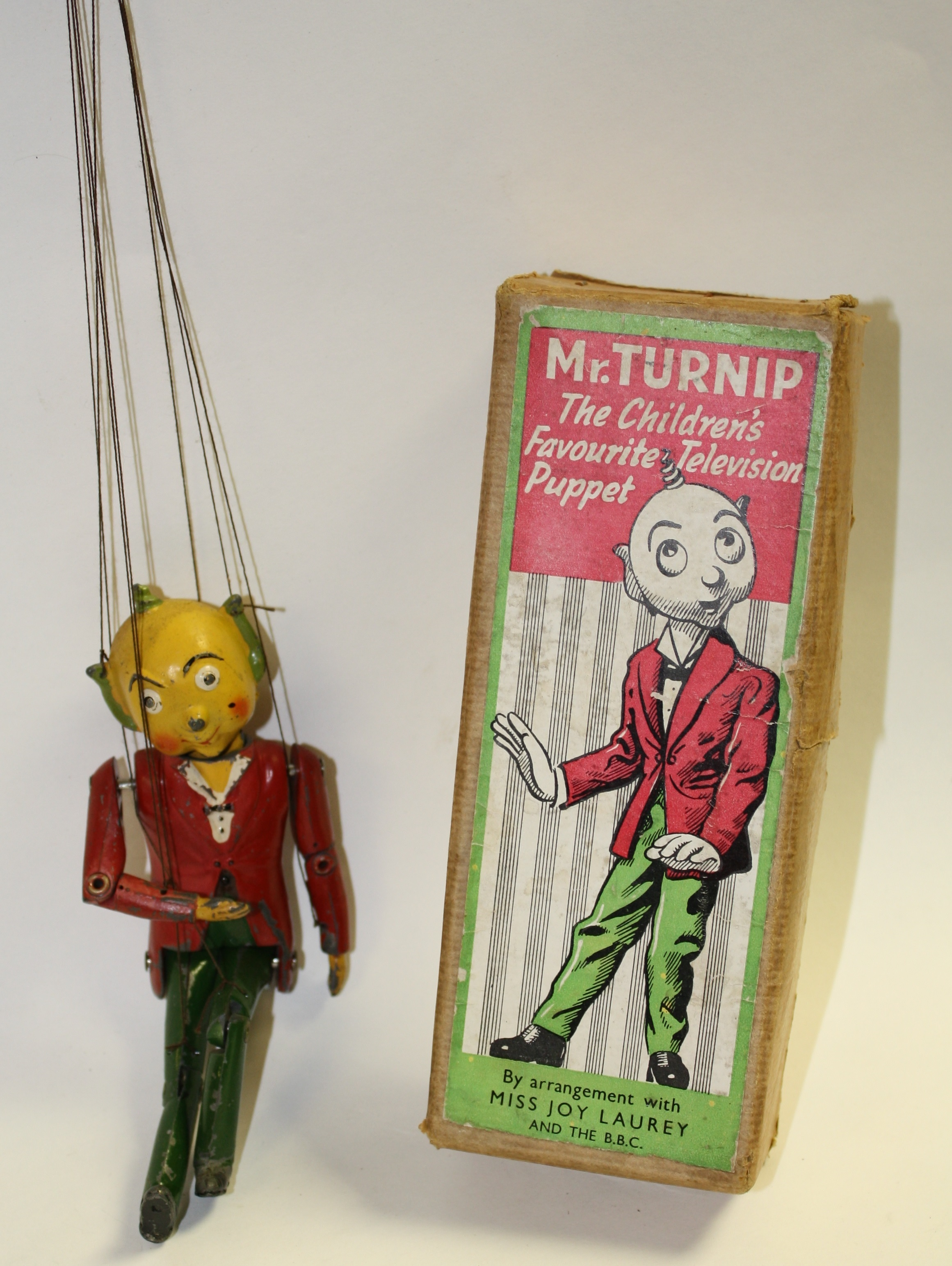 Lot 5178 - A mid 20th century Mr Turnip puppet toy, marked 'The Children's Favourite Television Puppet',