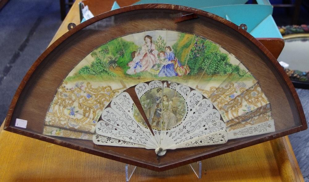 Lot 12 - A 19th century lady's bone and silk fourteen-stick fan,