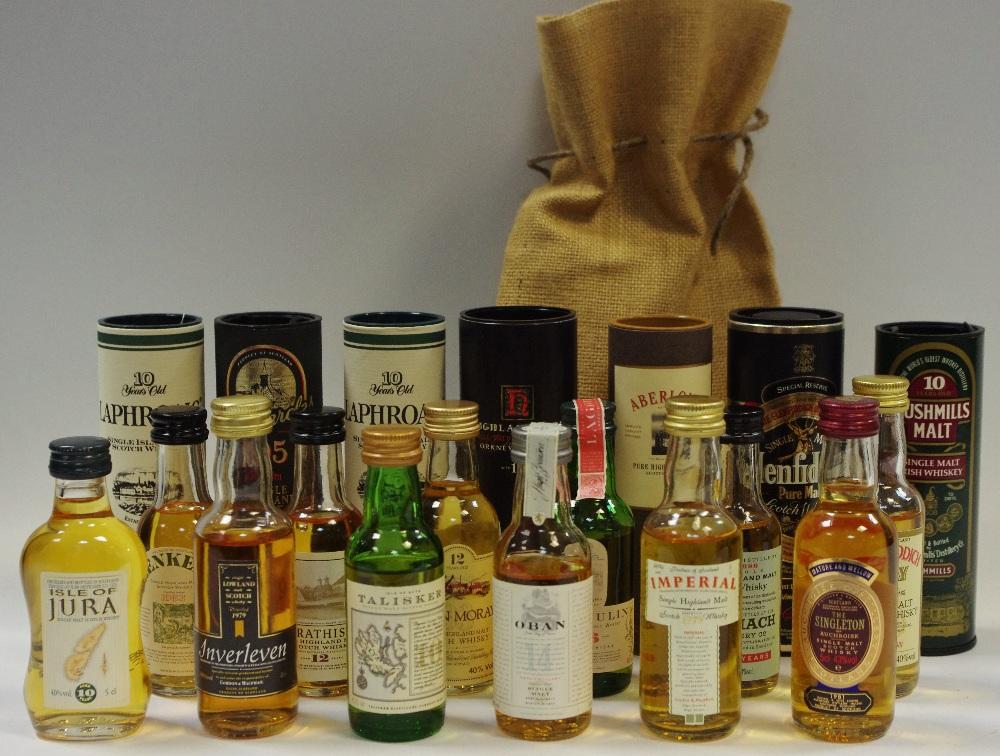 Lot 9 - Nineteen miniature whiskies including OBAN 14 year, Aberlour, Laphroaic, Bushmills, Highland Park,