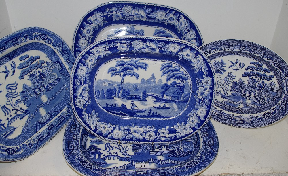 Lot 13 - Victorian and later blue and white meat plates,