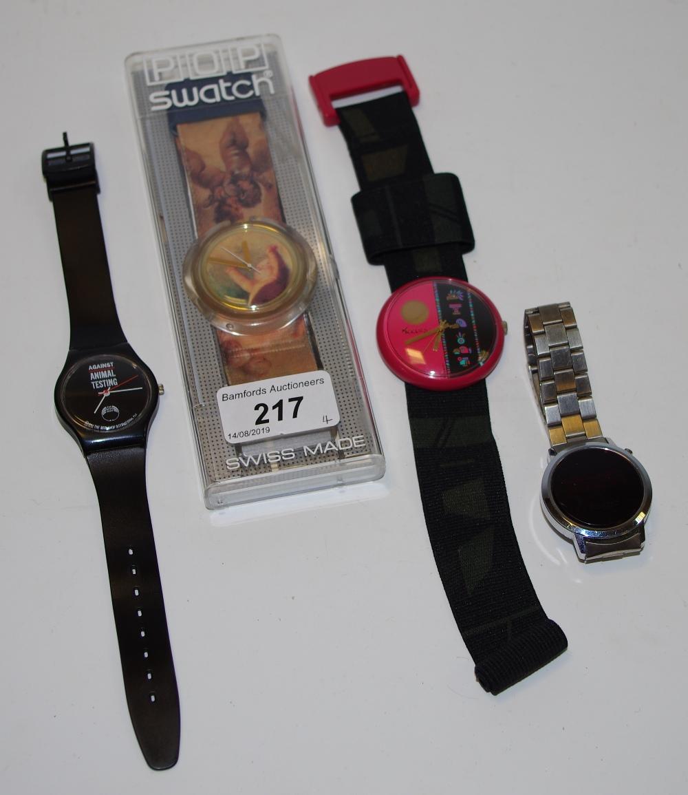 Lot 217 - A Pop swatch Vivienne Westwood putti PWK16A circa 1992, original box; a retro Imado LED watch etc.