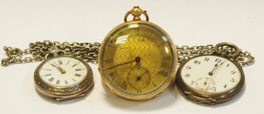 Lot 216 - A 14K gold open pocket watch; silver open faced pocket watch;