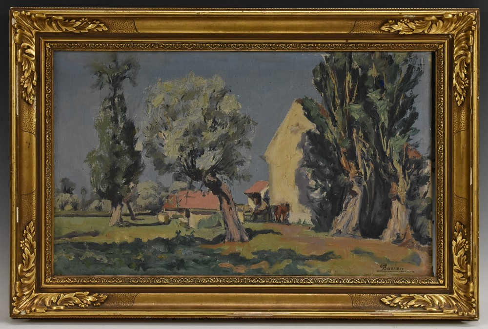 Berian, French School, Old Farmhouse by the Water, 'Vieille Ferme, Pougues L'es Equix', signed,