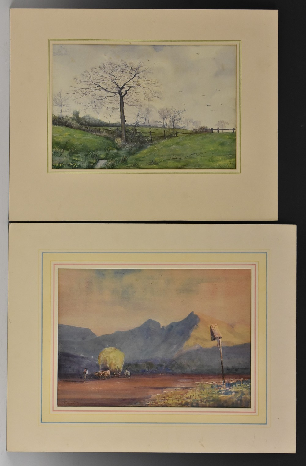 A Folio of Late 19th and 20th century watercolours, two in the manner of David Cox, unsigned,