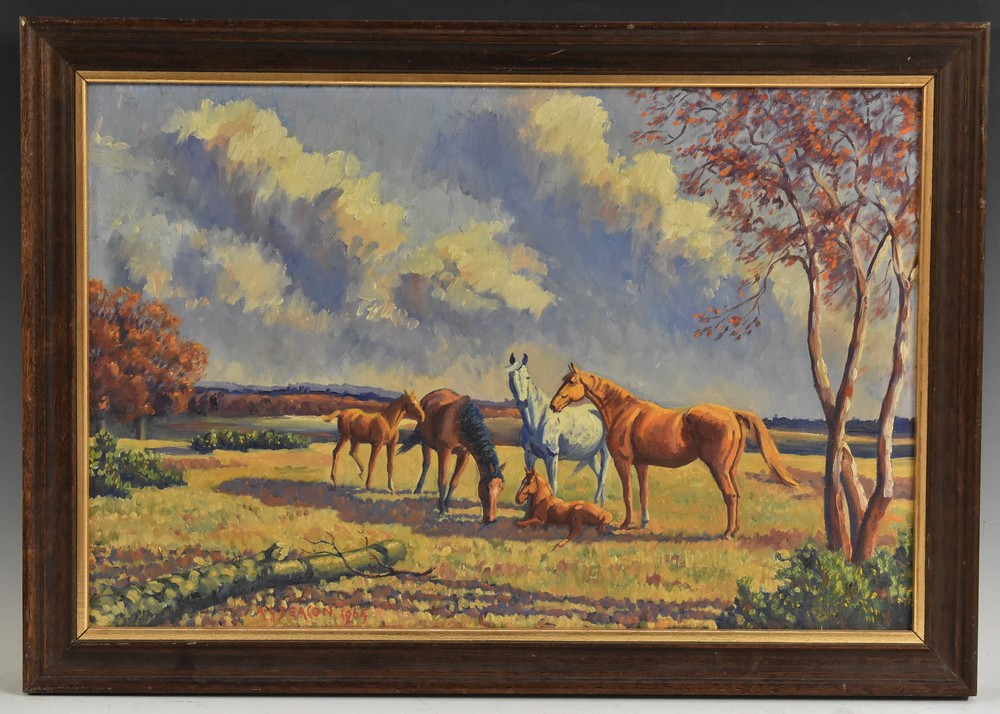 Lot 3011 - Alan G Deacon (fl.1965-1969) Horses and Foals signed, dated 1964, oil on board, 39cm x 59.