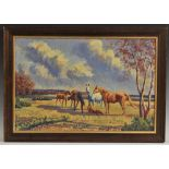 Alan G Deacon (fl.1965-1969) Horses and Foals signed, dated 1964, oil on board, 39cm x 59.