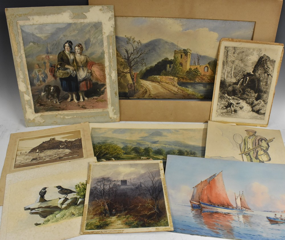 Lot 3005 - A folio of prints, watercolours and etchings, including works by E Lewis, J Wallace, etc,