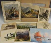 A folio of prints, watercolours and etchings, including works by E Lewis, J Wallace, etc,