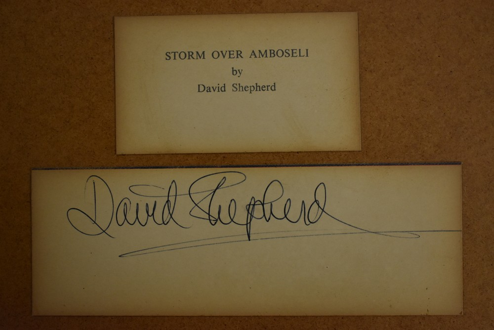 David Shepherd, after, Storm Over Amboseli, signed paper label to verso, titled, lithographic print, - Image 2 of 2