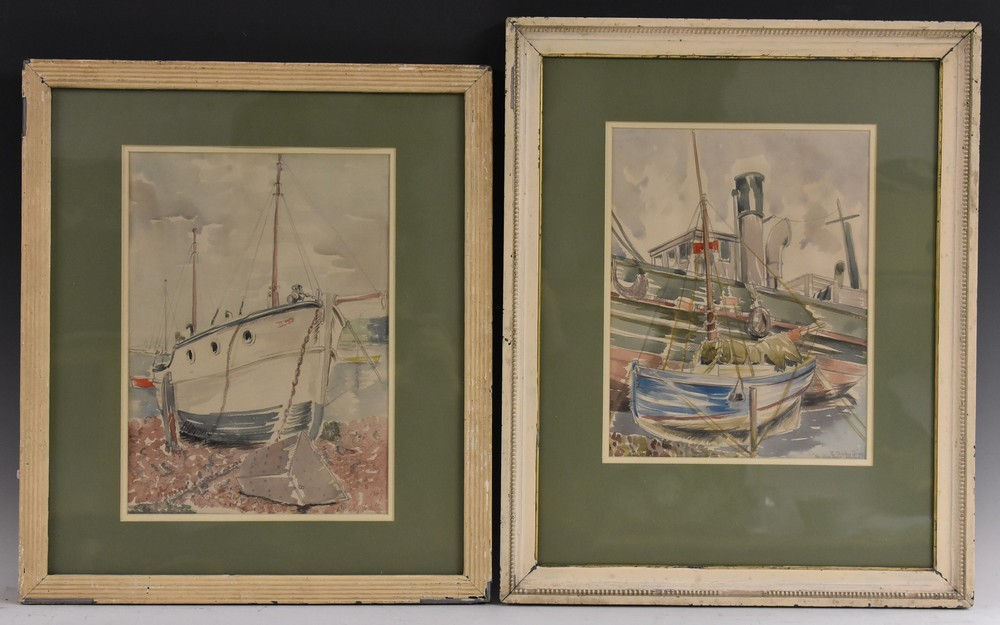 Lot 3024 - Barbara Shirley Jones, The Blue Boat Newlyn, signed, watercolour, 30.