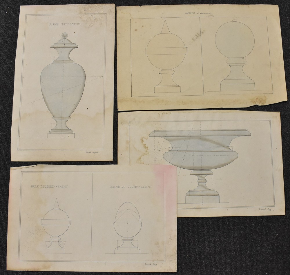 An Interesting folio of 19th century Grisaille watercolour paintings, - Image 4 of 5