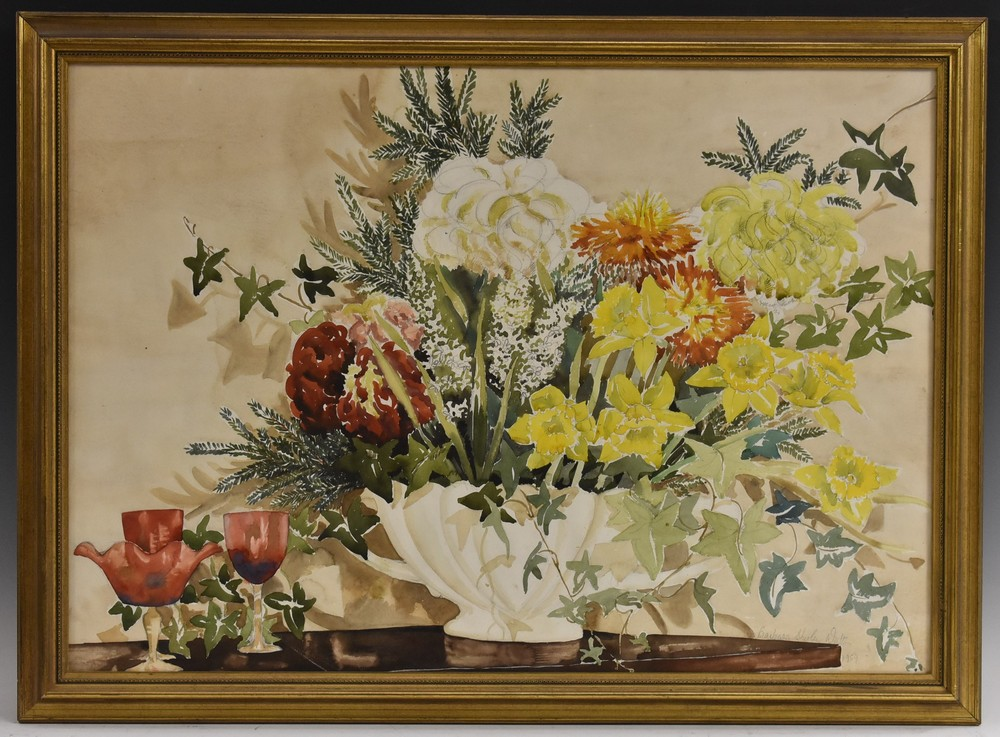 Barbara Shirley Walton Floral Arrangement in a Blue and White Vase signed, watercolour, 55cm x 77cm, - Image 2 of 4